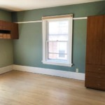 Green room with window in the center. Dresser on the right and shelves of the left