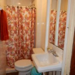 Small bathroom with sink toilet and half bath