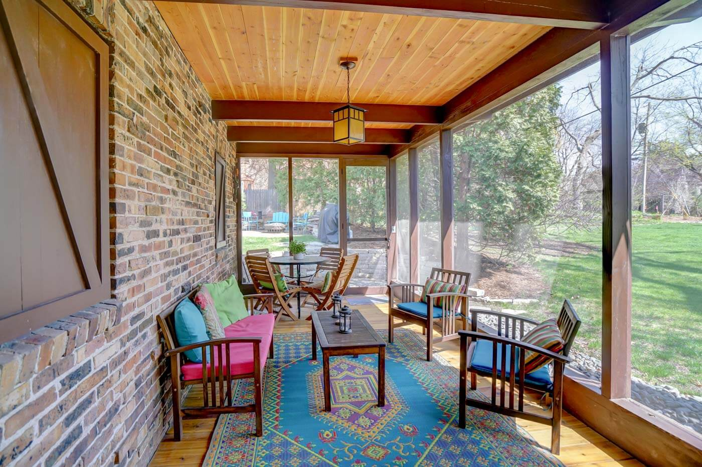 interior of a screened in porch