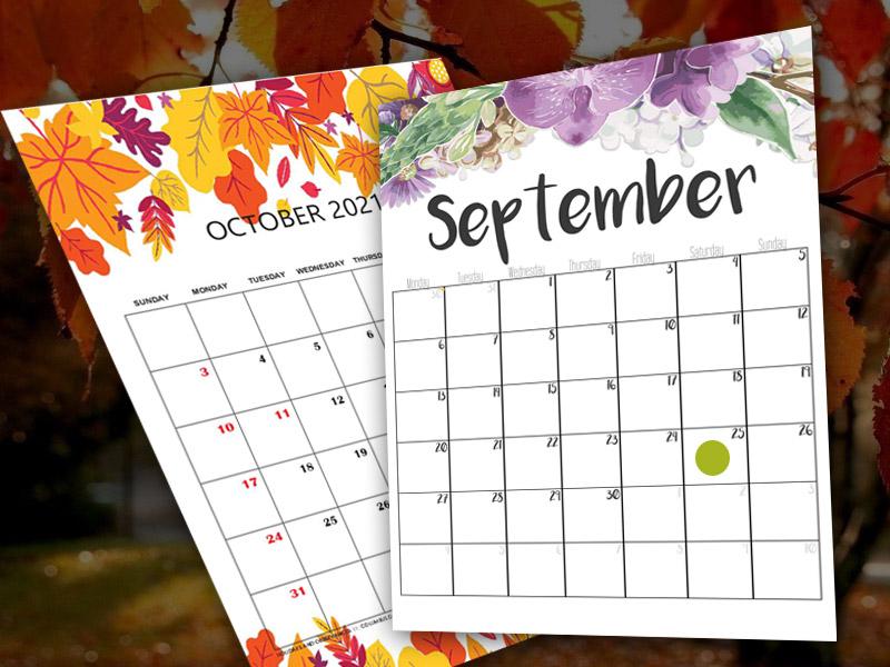 september and october calendars