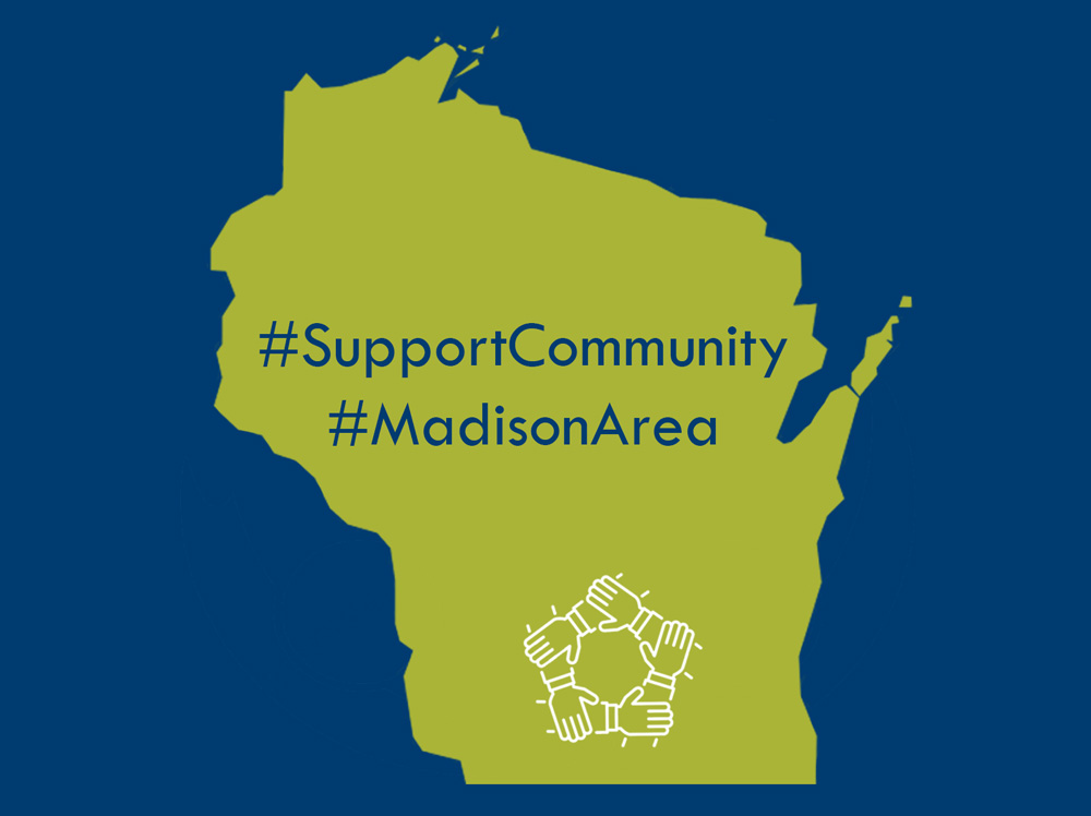 Wisconsin state shape with support hands icon #madison area #community over it