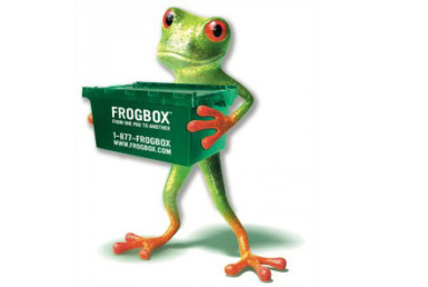 Frog holding frogbox logo