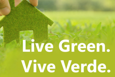 Live Green Vive verde graphic with house cut up in the left