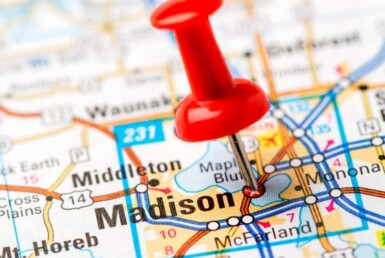 madison map with pin head